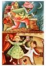 A.N.B.  -  Zwarte piet gooit suikergoed door de schoorsteen - Postkaarten-set -  1C1827-1