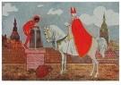A.N.B.  -  Sinterklaas met zwarte piet op het dak - Postkaarten-set -  1C1864-1