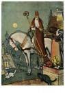 A.N.B.  -  Sinterklaas op het dak met zwarte piet en twee katjes - Postkaarten-set -  1C1886-1