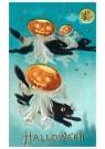 A.N.B.  -  Halloween (zwarte katten en pompoenen) - Postkaarten-set -  1C2260-1