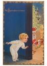 A.N.B.  -  Kindje kijkt om de hoek waar de kerstman in de huiskamer bez - Postkaarten-set -  1C2284-1