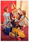 A.N.B.  -  Twee meisjes bij Sinterklaas met cadeaus - Postkaarten-set -  A91029-1