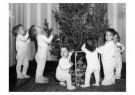 Spaarnestad Fotoarchief,  -  Kinderen in nachtkleding bij kerstboom - Postkaarten-set -  D1183-1