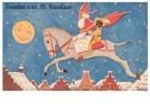 000004 -  Sint rijdt over de daken - Postkaarten-set -  D1224-1