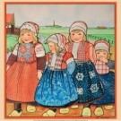 Rie Cramer (1887-1977)  -  vier kinderen in Oud-Hollandse klederdracht in Nederlands - Postkaarten-set -  PS1030-1
